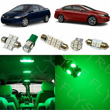 6x Green LED lights interior package kit for 2006-2012 Honda Civic HC1G