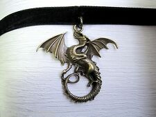 *MYSTICAL WINGED DRAGON* Black Velvet Ribbon Choker Necklace GOTHIC WICCA PAGAN