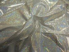SILVER HOLOGRAPHIC 4-WAY STRETCH LYCRA SPANDEX-DANCE COSTUME FABRIC-about 2YDS
