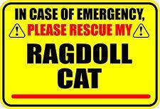 IN CASE OF EMERGENCY PLEASE RESCUE MY RAGDOLL CAT STICKER