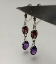 925 Sterling Silver Oval Natural Amethyst & Rhodolite Garnet Lever Back Earrings