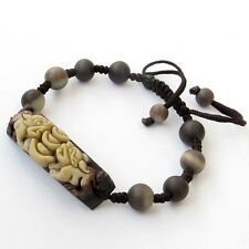 Natural Stone Lucky Pixiu Pi Xiu Money Tibet Buddhist Prayer Beads Mala Bracelet