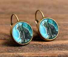 animals wiccan Bronze Glass cabochon 18 mm Lever Back Earrings #371
