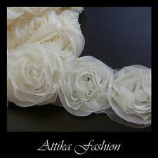 Ivory --- Chiffon Mesh Lace Fabric Trim *Per yard* *12 Flowers*