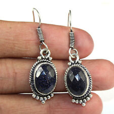 925 Sterling Silver Overlay Faceted Blue Sun Stone Earring  Handmade Jewellery