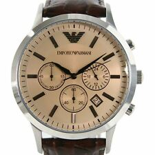 Emporio Armani Men's Brown Leather Strap Chronograph Watch AR2433
