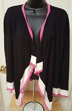 Charter Club NWT Woman's Black/Pink/White Stripe Cover Sweater Size L