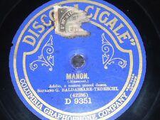 OPERA 78 rpm RECORD La Cigale BALDASSARE-TEDESCHI Manon Lescaut PUCCINI MASSENET