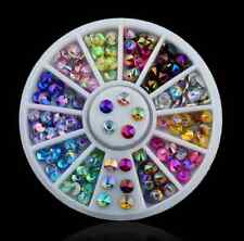 12 Color 3D Nail Art Tips gems Crystal Glitter Rhinestone DIY Decoration Wheel