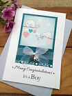 Large Handmade Personalised New Baby Christening Card with Charms - Boy or Girl
