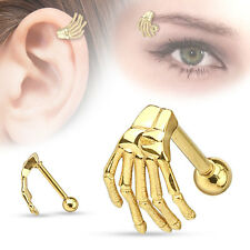 1 Pc Gold IP Plated Skeleton Hand Tragus Cartilage Eyebrow Ring 16g 5/16""