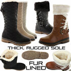 WOMENS LADIES FLAT THICK SOLE FUR LINED CALF KNEE HIGH WINTER SNOW BOOTS SIZE