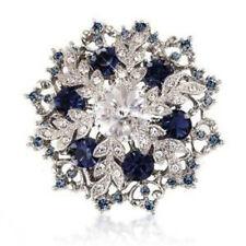 Vintage Style Sapphire Dark Blue Wedding Bouquet Shiny Diamante Brooch Pin BR327