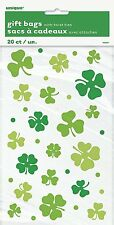 20 x St Patricks Day Irish Cello Favour Bags Party Loot Treat Cookie Bags