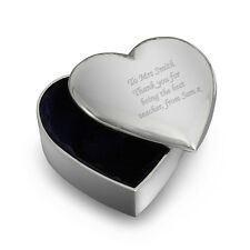 Personalised Silver Finish Heart Trinket Box -Engraved Free -Teacher, Graduation