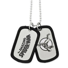 """Marvel Comics The Spiderman Silver BrushedTone Dog Tag 22"""" Necklace"""