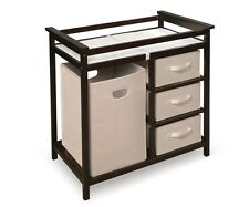 Baby Changing Table Nursery Furniture Hamper Diaper Station Espresso Brown