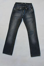 BIKKEMBERGS DONNA VINTAGE JEANS BLU DENIM GAMBA DRITTA PANTS W28 UK10 LOOK!!