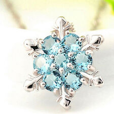 XMAS Gift Blue Crystal Snowflake Frozen Flower Silver Plated Necklace Pendant
