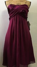 Davids Bridal Short Crinkle Charm Chiffon Sleeveless Dress Sangria Wine Size 4