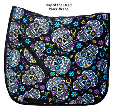 "FUN black  ""DAY OF THE DEAD"" skull roses print DRESSAGE SADDLE PAD"