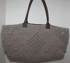 MADISON 88 GRAY KNIT CROCHET YARN EXTRA LARGE SHOPPERS TOTES BAG