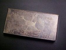 1968 DAY MINES INC WALLACE IDAHO 3oz 999 SILVER BAR INGOT WH FORSTER WALLA WALLA