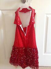 Girls Red Jazz Dance Dress Biketard with fringe size Child Medium
