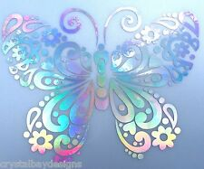 Butterfly Flower Fancy Rainbow Holographic Car Decal Sticker Laptop Window 15-95