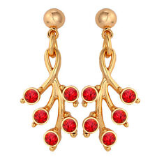 Cute Stud Earrings Gold Plated w Red Crystal Jewelry for Girls Valentine Gift