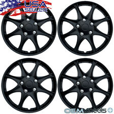 "4 NEW OEM MATTE BLACK 16"" HUB CAPS FITS PONTIAC MONTANA CENTER WHEEL COVERS SET"