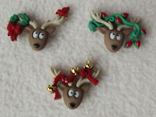 DRESS IT UP BUTTONS ~ OH DEER ~  3 DECORATED CHRISTMAS REINDEER HEADS