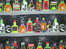 MAGIC POTIONS SPELLS BOTTLES WICKED BORDER BLACK COTTON FABRIC BTHY