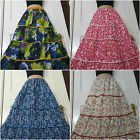 Ladies Long 100% Cotton Summer Skirt Half Lined Tiered Crinkle effect frsz 8-16