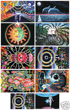 SET OF 10 Psychedelic Art UV Black Light Posters Glow-In-The-Dark Fluorescent
