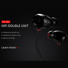 New KZ ZS1 Headphones Dual Driver Earphone Stereo HIFI Headset 100% original MIC