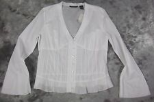 New New York & Company Shirt Top Size 14 White Lace Pleat Detail