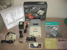 PC ENGINE WHITE CORE CONSOLE + AV BOOSTER OUTPUT ACCESSORY UNIT!RARE SET!
