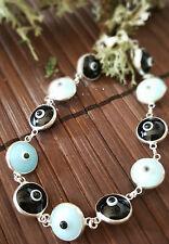 """Sterling Silver Blue Black Murano Crystal Evil Eye Good Luck Bracelet  7"""""""