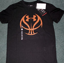 NWT Under Armour M Boys Black/Orange Basketball Heat Gear Shirt YMD