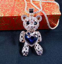 Rose Gold Plated Crystal glass Little bear Pendant Sweater Chain Necklace