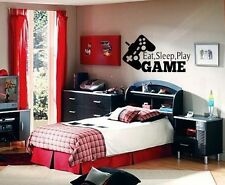 EAT SLEEP PLAY GAME BOY LETTERING DECAL WALL VINYL DECOR STICKER ROOM SPORTS