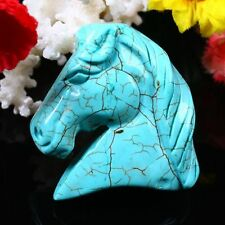 1X Blue Howlite Turquoise Gemstone Veins Carved Horse Head Pendant Necklace Bead