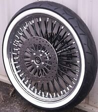 Black Chrome 21 X 3.5 52 Spoke Mammoth Fat Wheel 120/70-21 Tire Package WWW