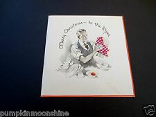 # J529- Unused Art Deco Xmas Greeting Card Man in Suit Washing Dishes