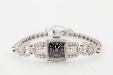 Antique 1940s $9000 Tilbury Black Dial 3ct VS G Diamond Platinum Ladies Watch