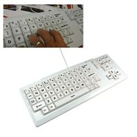 VISUALLY IMPAIRED SPECIAL NEEDS PC USB KEYBOARD BLACK ON WHITE XL LARGE KEYS