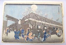 Old Original Utagawa Hiroshige Cherry Blossoms at Night 1832-38 Woodblock Print
