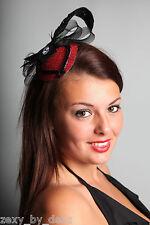 À bandeau rouge brillant avec longue plume mariage, Fantaisie bling!