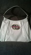 GENUINE GUCCI BAG WHITE LEATHER SIZE LARGE PURSE IN FINE EXCELLENT CONDITION